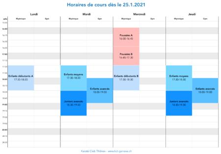 Grille des horaires des cours dès le 25.1.2021